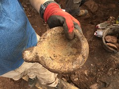 A finely carved sandstone cup found on 21.08.2017