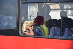 DSC_2711 Notting Hill Caribbean Carnival London Exotic Colourful Costume Dancing Lady Showgirl Performer Aug 28 2017 Tired Girl on the Bus (photographer695) Tags: notting hill caribbean carnival london exotic colourful costume dancing lady showgirl performer aug 28 2017 stunning ladies tired girl bus