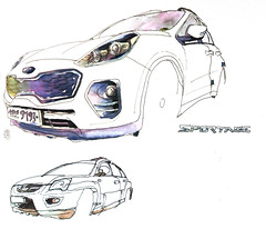 Kia Sportage sketched in the residence's car park (velt.mathieu) Tags: