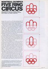 Montreal Olympics – Five Ring Circus (alistairh) Tags: alistairbhall montreal olympics designmagazine design313 january1975 georgeshuel