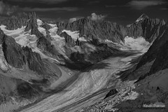 Glaciated Alps (kevin-palmer) Tags: frenchalps alps france montblancmassif mountains august summer glaciers nikond750 snow montdolent tamron2470mmf28 blackandwhite monochrome europe