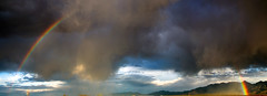 Panorama of A Dancer's Rainbow (Chic Bee) Tags: panorama exciting giftfromhashem stormclouds singinintherain dancingintherain fun happy rainbow tuboc arizona clouds fierce storm rain sun doubletake stormyweather weatherfront outstanding yotsayminhaklal colorful lightandshadows