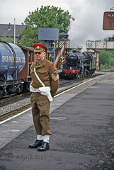 A Redcap looking for The Fusilier (Polyrus) Tags: redcap militarypolice 45407 45157 black5 ramsbottom thefusilier railway elr