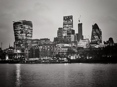 Constant Construction (Douguerreotype) Tags: monochrome business buildings cityscape lights city night finance bw uk british mono gb blackandwhite architecture britain england urban london water river dark thames