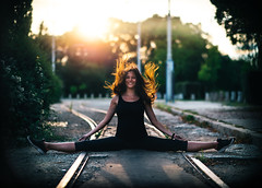 In the Line of Fire (marina_ta) Tags: yoga line railway exercise portrait women streching