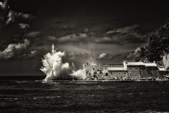 Kboom! (Alfred Grupstra) Tags: blackandwhite sea storm nature cloudsky water sky coastline beach weather outdoors dramaticsky landscape cloudscape history wave wind old architecture overcast castle