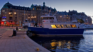 The commuter boat Hättan in Nybro Bay in Stockholm