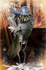 Rievaulx Abbey Terrace Mystical bird (Bobinstow2010) Tags: arty bird metal nationaltrust topaz photoshop rievaulxabbeyterrace mystical sculpture forsale red orange colour color