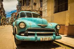 Custom Paint Job (ISP Bruno Laplante) Tags: 1951 chevy chevrolet havana cuba old decay car chrome classic aqua headlights front end street yellow orange colors