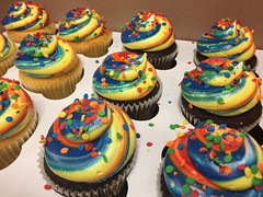Rainbow Style Frosting Cupcakes:**Maximum number of colors for swirl frosting is 6**RESULTS WILL VARYPrice starts at $1.95One color is included Add $1.00 on the order (not per cupcake) for every additional color. Price as is: $1.95 each+$4.00 for colors