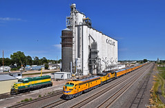 Westbound Passenger Special in Cozad, NE (Grant Goertzen) Tags: up union pacific railroad railway locomotive train trains west westbound passenger special emd power grain elevator