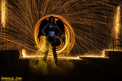 Steel / wire Wool Spinning - Dark Angel (Rick Drew - 19 million views!) Tags: steel wire wool spinning fire hot sparks sparky orange spiral dark demon angel wings circle ring