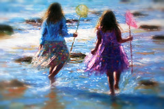 As Summer Fades (Simon Downham) Tags: summer 2017 hotel canvas girls youth young sea paddle paddles paddling net fishing dainty pretty innocent innocence fun play nostalgia halcyondays memories reminisce reminiscing halcyon days shadows beach