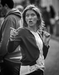 Shock, horror .... (Frank Fullard) Tags: frankfullard fullard candid street portrait mono monochrome blackandwhite lol fun shock horror finger wagging swinford heritage festival mayo irish ireland look surprise alarm
