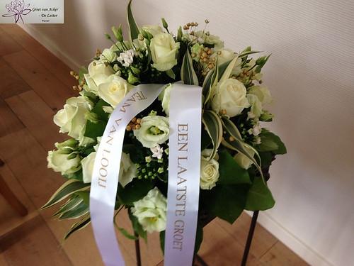45mm wit rouwlint met goud bedrukt