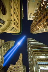 Tribute In Lights (Jack Berman) Tags: 911memorial architecture cityscape downtown jackberman lights manhattan newyorkcity night nyc skyline tributeinlights wtconeworldtrade