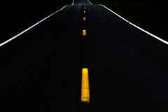 Traveler (tonyajbender) Tags: minimalism road lines repeating patterns dark night black yellow urban photochallenge2017 photochallengorg