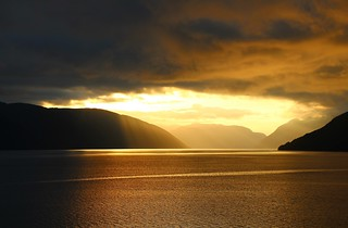 Golden waters in Sognefjord.