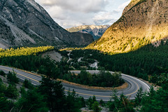Hairpin (eric.vanryswyk) Tags: lillooet canyon cruise coastal mountains cliffs peaks hills forest dense valley bottom sky trees green sunset dusk golden hour serene alone nikon d610 nikkor f18 desert mountain landscape road sign 20mm