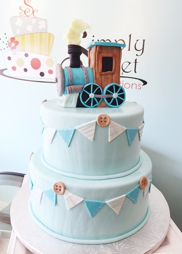 Vintage Train Baby Shower Cake