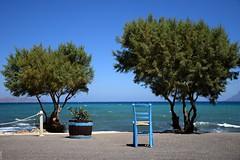 summer moods (JoannaRB2009) Tags: summer mood blue tree trees chair sea water restaurant mediterranean nature hot landscape seascape kissamos crete kriti kreta greece greek