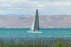 Sailing on Emerald Waters (aaronrhawkins) Tags: sailing sailboat sail boat bearlake utah idaho recreation water lake blue aquamarine emerald turquoise swim sailors shore beach wind watersport gardencity citypark grass reeds calm peaceful vacation clear sky hill aaronhawkins