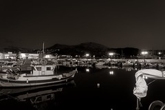 Silent night (Мaistora) Tags: harbour port haven fishing fishermen island mediterranean aegean boats water still quiet lights flares reflections hills skyline glow bw mono monochrome sepia film silver paper toned vintage retro oldschool peace peaceful silent greece greek limnos lemnos sony alpha ilce a6000 dxo optics luminar evening night dark darkness light streetlights lamps grain analog analogue 1018mm f4 sel1018oss