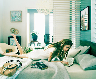 read a book on the bed