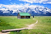 A wooden cabin on the mountain lap (Sublime-Focus) Tags: landscape blue house calm green carpathian countryside mountain lonely pasture grand teton barn rural wooden cabin hut farmland shack snowy range mountainside homestead t a moulton lap