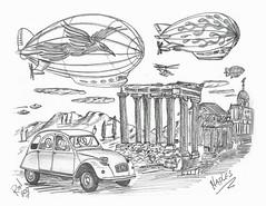 Naples (rod1691) Tags: bw scifi grey concept custom car retro space hotrod drawing pencil h2 hb original story fantasy funny tale automotive art illistration greyscale moonpies sketch