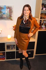 Leather Skirt Suit (Rikky_Satin) Tags: silk satin blouse scarf leather skirt suit jacket boots highheels crossdresser crossdressing transvestite tranny tgirl sissy fashion