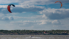 Kitesurfing at Southern Buh River, Mykolaiv, Ukraine 2017-06-14. (Serhiy Borysov) Tags: kite canoneosm canon clouds sky summer beach ukraine kitesurfing mykolaiv river