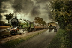 Road and Rail (brian_stoddart) Tags: trains lorry truck road railway trees lights clouds vintage old transport rain tint composite