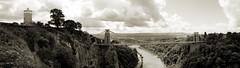 Above the Gorge (weirdoldhattie) Tags: bristol suspension bridge avon river valley gorge avongorge riveravon cifton cliftonsuspensionbridge bristolsuspensionbridge suspensionbridge bw blackandwhite panorama brunel observatory