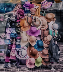 "Hats, hat and more hats of candid on Manhattan Street (nrhodesphotos(the_eye_of_the_moment)) Tags: dsc85803001024 ""theeyeofthemoment21gmailcom"" ""wwwflickrcomphotostheeyeofthemoment"" textures summer2017 season nyc manhattan outdoors hats perspective candid female colors multipleexposures streetscene millinery"