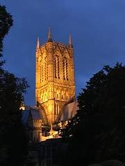 Lincoln at dusk (BiggestWoo) Tags: iphone church lincs lincolnshire floodlit tower dusk cathedral minster lincoln