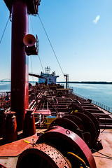 My Ship from the bow looking aft (langdon10) Tags: anchorage canada canon70d laurentiadesgagnes quebec ship stlawrenceriver tanker nautical