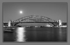 sydney harbour bridge (Greg Rohan) Tags: nightlights nightphotography nighttime night sydneyharbourbridge sydneyharbour blackandwhite d7200 2017 bridge monochrome bw blackwhite water sea ocean sydney