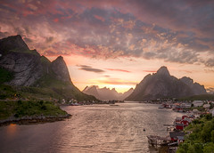 Reine Sunset (mikedemmingsphoto.com) Tags: norway reine clouds landscape mountains seascape sunset rorbuer arctic ocean fjord water nikon nikond750 outside outdoors travel