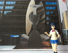 Chicago Picasso Sculpture Unveiled 50 Years Ago (Sasha's Lab) Tags: 園田海未 lovelive ラブライブ umi sonoda picasso sculpture chicago daley plaza high school uniform teen girl figma toy explored