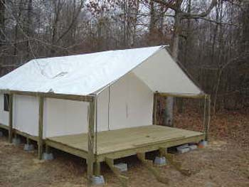 canvas tent with awning