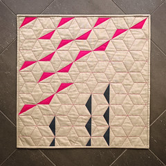 INMod Quilt Guild Mini Challenge (Quiltachusetts - Heather Black) Tags: modern contemporary mini quilt solid kina cotton geometric hexagon triangles pink navy tan aurifil