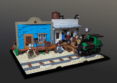 Wild West (Vaionaut) Tags: lego wildwest western cowboys cavalry minifigs train railway locomotive