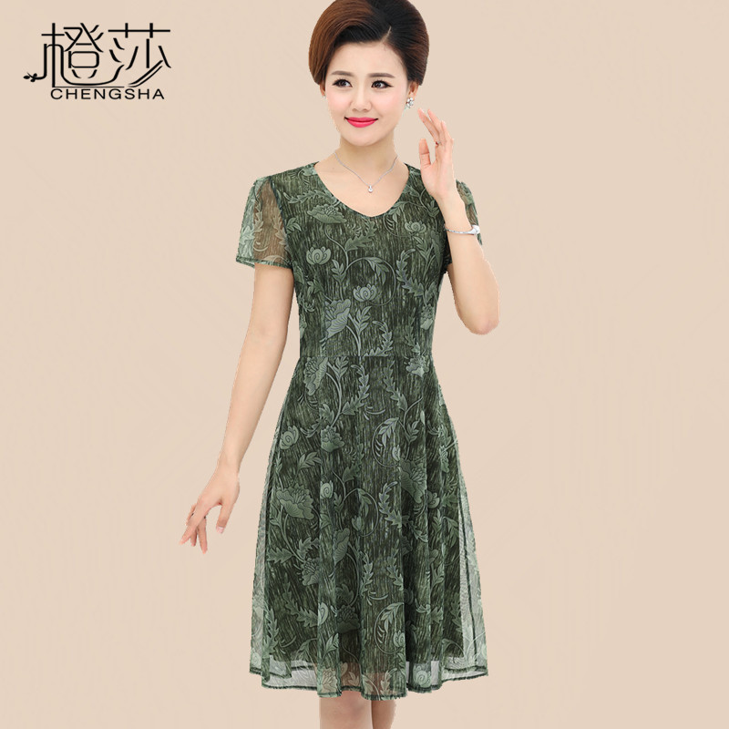 The middle-aged mother summer dress 40-50 years long jackets in elderly women dress 2017 NEW