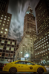 Chrysler Building and Yellow Cab (Dominique Richeux Photography) Tags: ny nyc new york manhattan life street night nightscape view building skyscraper chrysler taxi yellow cab jaune sky clouds architecture usa etatsunis unitedstates city cityscape