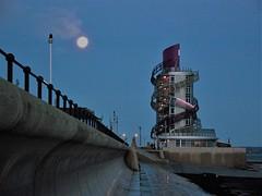 The Beacon (trev.pix) Tags: redcar beacon verticalpier moon neonlights lighthouse beach seawall