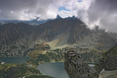 The Red Trail (janmodzew) Tags: orla perć tatry rock stone valley pond lake mark path cloud water mountains