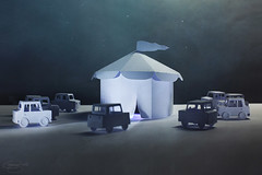 the midnight show... (CatMacBride) Tags: circus tent cars paper papercraft night