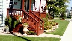 Front porch and garden - SFS (Maenette1) Tags: frontporch stairs garden vase lawn trees neighborhood menominee uppermichigan saturdayforstairs flicker365 michiganfavorites
