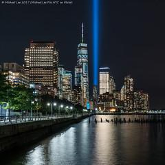 Tribute in Light - 9/11/17 (20170911-DSC02046) (Michael.Lee.Pics.NYC) Tags: newyork tributeinlight 2017 commemorate 911 pier34 lowermanhattan tribeca hudsonriver night longexposure onewtc worldtradecenter square sony a7rm2 fe2470mmf28gm
